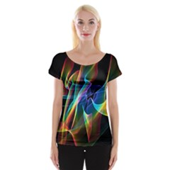 Aurora Ribbons, Abstract Rainbow Veils  Women s Cap Sleeve Top by DianeClancy