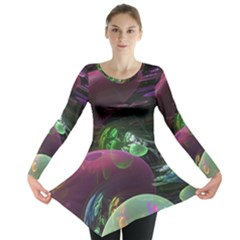 Creation Of The Rainbow Galaxy, Abstract Long Sleeve Tunic  by DianeClancy