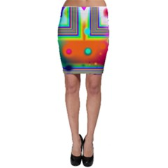 Crossroads Of Awakening, Abstract Rainbow Doorway  Bodycon Skirts by DianeClancy