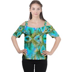 Crystal Gold Peacock, Abstract Mystical Lake Women s Cutout Shoulder Tee by DianeClancy