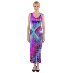 Crystal Northern Lights Palace, Abstract Ice  Fitted Maxi Dress by DianeClancy
