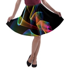 Crystal Rainbow, Abstract Winds Of Love  A Line Skater Skirt