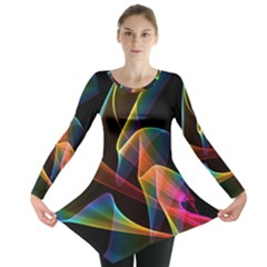 Crystal Rainbow, Abstract Winds Of Love  Long Sleeve Tunic  by DianeClancy