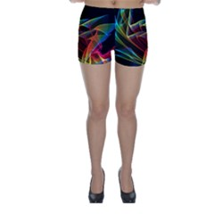 Dancing Northern Lights, Abstract Summer Sky  Skinny Shorts by DianeClancy