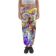 Desert Winds, Abstract Gold Purple Cactus  Women s Jogger Sweatpants by DianeClancy