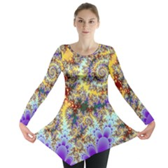 Desert Winds, Abstract Gold Purple Cactus  Long Sleeve Tunic  by DianeClancy