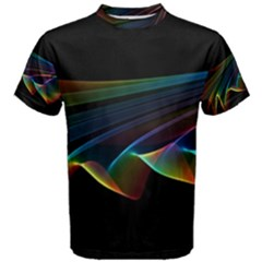 Flowing Fabric of Rainbow Light, Abstract  Men s Cotton Tee by DianeClancy