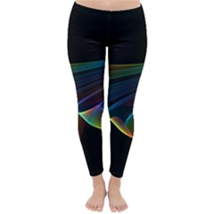 Flowing Fabric of Rainbow Light, Abstract  Winter Leggings  by DianeClancy