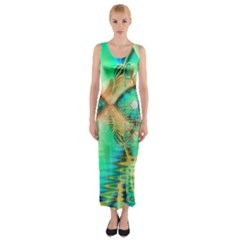Golden Teal Peacock, Abstract Copper Crystal Fitted Maxi Dress by DianeClancy