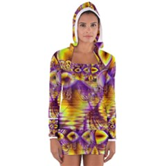 Golden Violet Crystal Palace, Abstract Cosmic Explosion Women s Long Sleeve Hooded T-shirt by DianeClancy