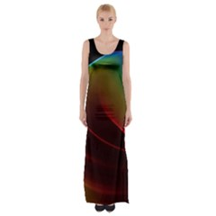 Liquid Rainbow, Abstract Wave Of Cosmic Energy  Maxi Thigh Split Dress by DianeClancy