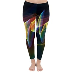 Northern Lights, Abstract Rainbow Aurora Winter Leggings  by DianeClancy
