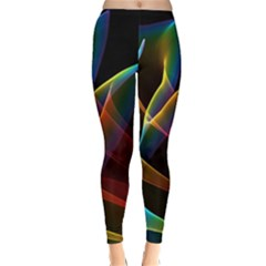 Peacock Symphony, Abstract Rainbow Music Winter Leggings  by DianeClancy