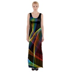 Peacock Symphony, Abstract Rainbow Music Maxi Thigh Split Dress by DianeClancy
