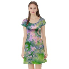 Rose Apple Green Dreams, Abstract Water Garden Short Sleeve Skater Dress by DianeClancy