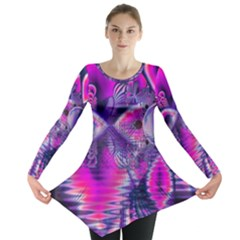Rose Crystal Palace, Abstract Love Dream  Long Sleeve Tunic  by DianeClancy