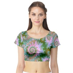 Rose Forest Green, Abstract Swirl Dance Short Sleeve Crop Top (tight Fit) by DianeClancy