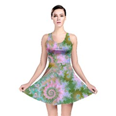 Rose Forest Green, Abstract Swirl Dance Reversible Skater Dress by DianeClancy