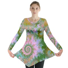 Rose Forest Green, Abstract Swirl Dance Long Sleeve Tunic  by DianeClancy