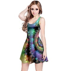 Satin Rainbow, Spiral Curves Through The Cosmos Reversible Sleeveless Dress by DianeClancy