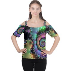 Satin Rainbow, Spiral Curves Through The Cosmos Women s Cutout Shoulder Tee by DianeClancy