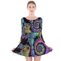 Satin Rainbow, Spiral Curves Through the Cosmos Long Sleeve Velvet Skater Dress by DianeClancy