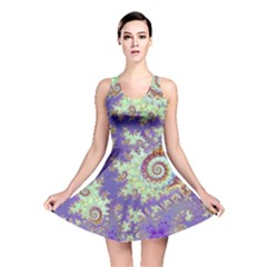 Sea Shell Spiral, Abstract Violet Cyan Stars Reversible Skater Dress by DianeClancy