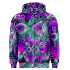 Teal Violet Crystal Palace, Abstract Cosmic Heart Men s Zipper Hoodie by DianeClancy