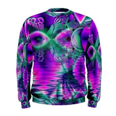 Teal Violet Crystal Palace, Abstract Cosmic Heart Men s Sweatshirt by DianeClancy