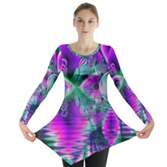 Teal Violet Crystal Palace, Abstract Cosmic Heart Long Sleeve Tunic  by DianeClancy
