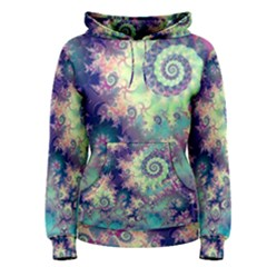 Violet Teal Sea Shells, Abstract Underwater Forest (purple Sea Horse, Abstract Ocean Waves  Women s Pullover Hoodie by DianeClancy