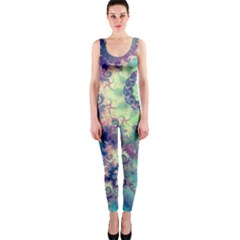 Violet Teal Sea Shells, Abstract Underwater Forest (purple Sea Horse, Abstract Ocean Waves  OnePiece Catsuit by DianeClancy