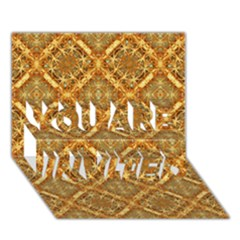 Luxury Check Ornate Pattern You Are Invited 3d Greeting Card (7x5)  by dflcprints