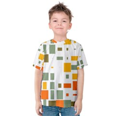 Rectangles And Squares In Retro Colors  Kid s Cotton Tee