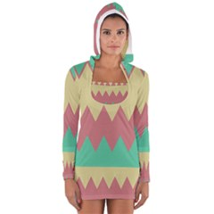 Retro chevrons     Women s Long Sleeve Hooded T-shirt by LalyLauraFLM