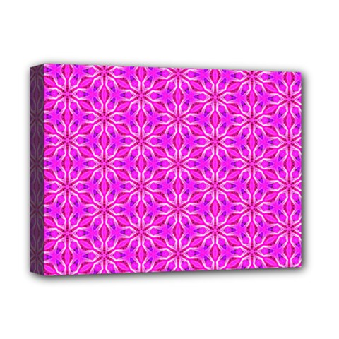 Pink Snowflakes Spinning In Winter Deluxe Canvas 16  X 12   by DianeClancy