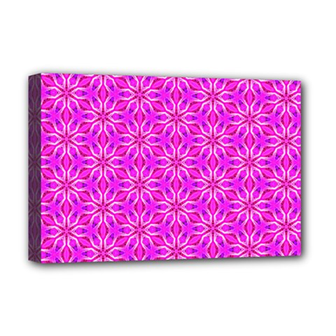 Pink Snowflakes Spinning In Winter Deluxe Canvas 18  X 12   by DianeClancy