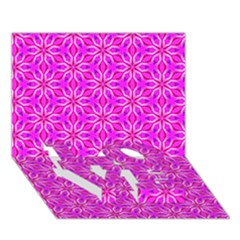 Pink Snowflakes Spinning In Winter Love Bottom 3d Greeting Card (7x5)  by DianeClancy