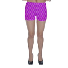 Pink Snowflakes Spinning In Winter Skinny Shorts by DianeClancy