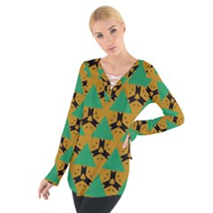 Triangles And Other Shapes Pattern         Women s Tie Up Tee