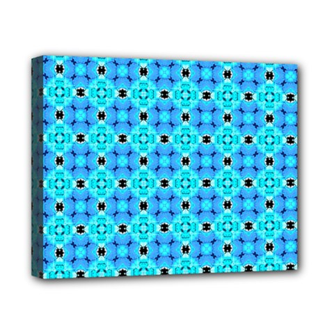 Vibrant Modern Abstract Lattice Aqua Blue Quilt Canvas 10  X 8  by DianeClancy