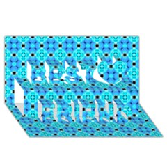 Vibrant Modern Abstract Lattice Aqua Blue Quilt Best Friends 3d Greeting Card (8x4)  by DianeClancy