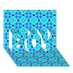 Vibrant Modern Abstract Lattice Aqua Blue Quilt Boy 3d Greeting Card (7x5) by DianeClancy
