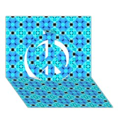 Vibrant Modern Abstract Lattice Aqua Blue Quilt Peace Sign 3d Greeting Card (7x5)  by DianeClancy