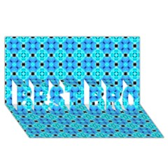 Vibrant Modern Abstract Lattice Aqua Blue Quilt Best Bro 3d Greeting Card (8x4)  by DianeClancy