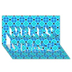 Vibrant Modern Abstract Lattice Aqua Blue Quilt Merry Xmas 3d Greeting Card (8x4)  by DianeClancy