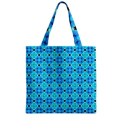 Vibrant Modern Abstract Lattice Aqua Blue Quilt Grocery Tote Bag by DianeClancy