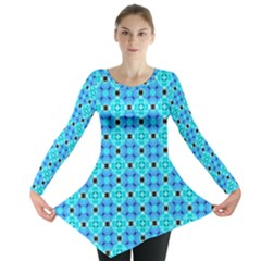 Vibrant Modern Abstract Lattice Aqua Blue Quilt Long Sleeve Tunic  by DianeClancy