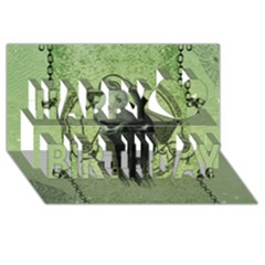 Awesome Green Skull Happy Birthday 3d Greeting Card (8x4)  by FantasyWorld7