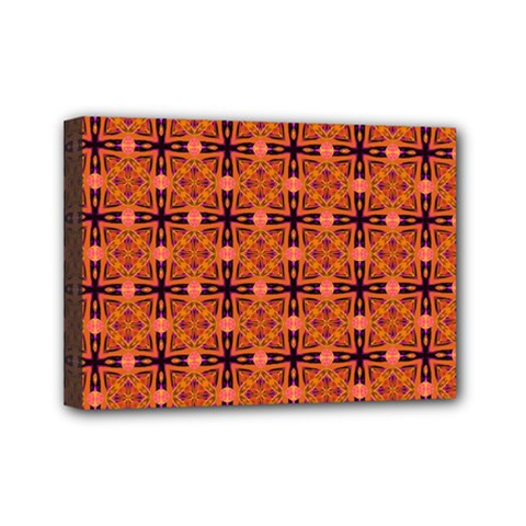 Peach Purple Abstract Moroccan Lattice Quilt Mini Canvas 7  X 5  by DianeClancy